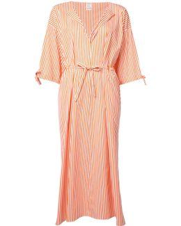 Orange Striped Midi Dress