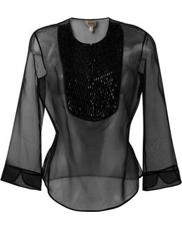 Three-quarters Sleeve Sheer Blouse