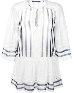 Lace Trim Striped Blouse