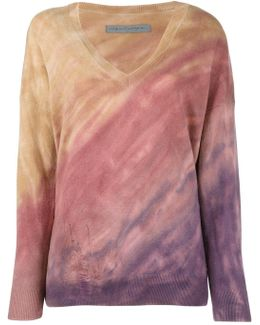 Tie-dye Effect Distressed Jumper