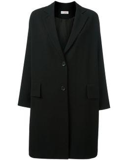 Drop Shoulder Button Fastening Coat