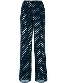 Dots Print Flared Trousers