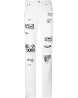 Embellished Distressed Trousers