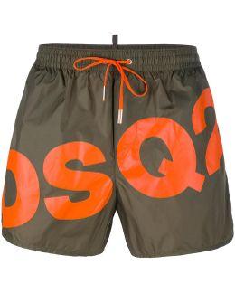 Slanted Logo Swim Shorts