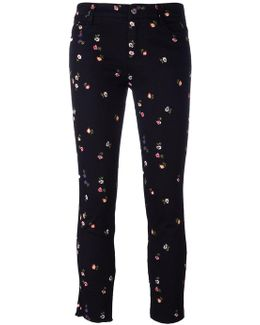 Floral Embroidery Cropped Trousers