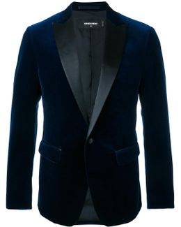 Velvet Jacket With Leather Lapel