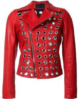 Cleo Grommet Leather Moto Jacket