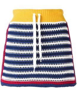 Knit Panel Drawstring Skirt