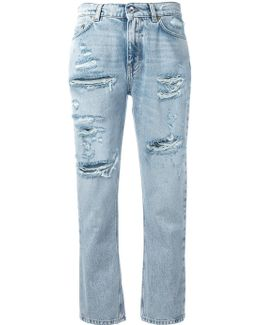 Strawberry Embellished Cropped Jeans