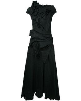 Draped Flared Midi Dress