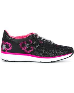 Floral Glitter-effect Sneakers