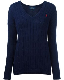 Cable Knit V-neck Jumper
