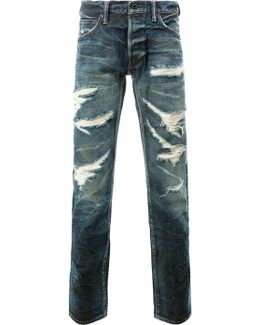 Tapered Distressed Jeans