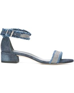 Stud Detail Denim Sandals