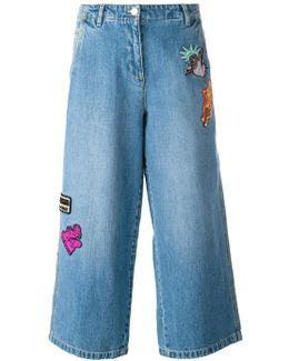 Patch Detail Cropped Jeans