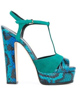 Patterned Block Heel Sandals