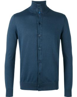 Button Front Stand-up Collar Cardigan