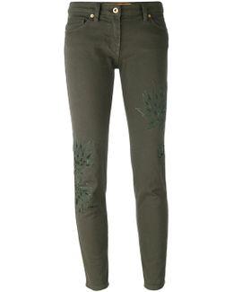 Leaf Patch Skinny Trousers