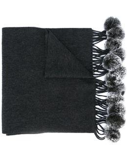 Fur Bobble Woven Scarf