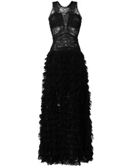Raw Lace Tiered Gown