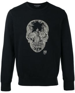 Skull Sequin Embellished Organic Cotton Sweatshirt