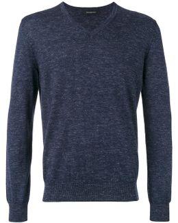 V-neck Slub Knit Sweater