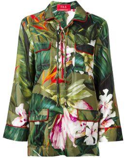 Floral Lace-up Pyjama Top