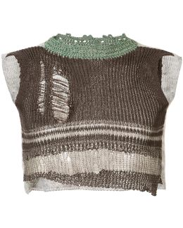 Distressed Knit Cropped Vest