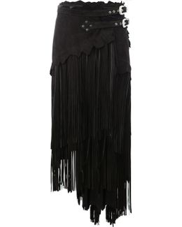 Asymmetric Fringed Leather Skirt