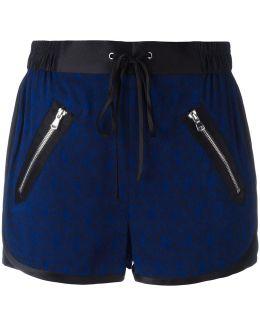 Satin-trimmed Damask Shorts
