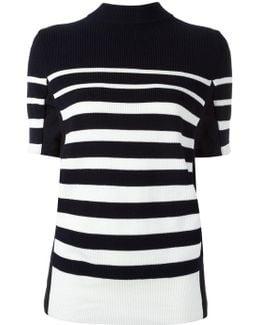 Short Sleeved Striped Sweatshirt