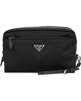 - Logo Plaque Clutch Bag - Women - Nylon - One Size