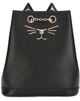 Feline Embroidered Backpack
