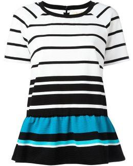 Striped Flared Hem T-shirt