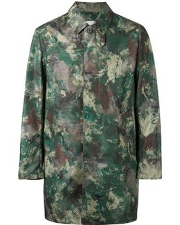 Slim-fit Camouflage-print Shell Raincoat