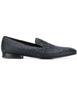 Woven Logo Plaque Loafers