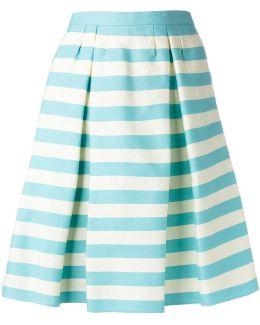 Pleat Detail Striped Skirt