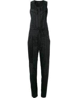 Suiting Stripe Sleeveless Jumpsuit
