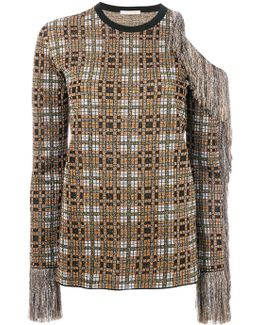 Metallic Check Top With Fringes