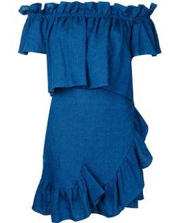 Ruffle Panel Bardot Dress