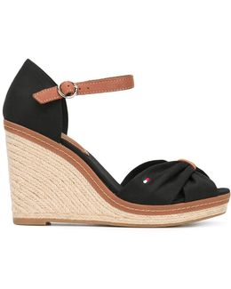 Crossed Front Wedge Sandals