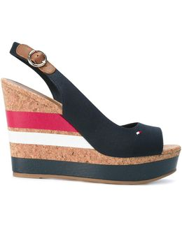 Striped Wedged Sandals