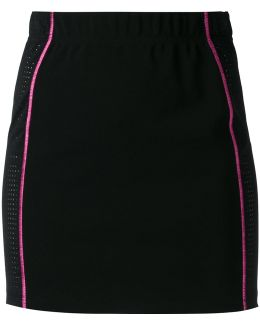Contrast Stitch Perforated Skirt