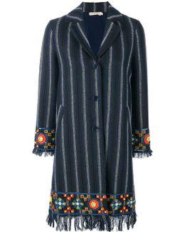 Embellished Striped Coat