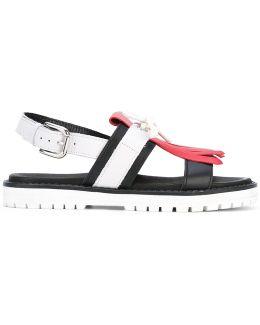 Fringed Slingback Sandals