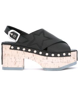 Metallic-studded Wedge Sandals