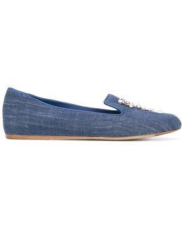 Embellished Denim Slippers