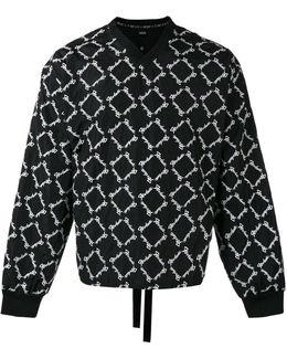 Embroidered V-neck Sweatshirt