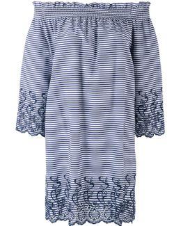 Short Striped Off The Shoulder Dress