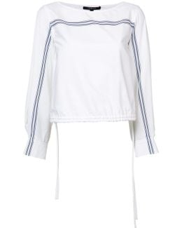 Flared Sleeves Drawstring Blouse
